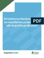 El Gobierno nacional puso en marcha las primeras 30 obras públicas de 2021