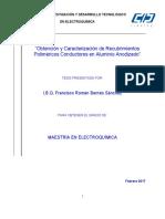 Obtención y caracterización de recubrimientos poliméricos conductores en aluminio Anodizado.