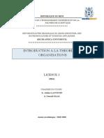 Mon cours Introduction à la théorie des organisations