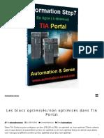 Les blocs optimisés_non optimisés dans TIA Portal