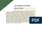 Las Formas de Gobierno de Platón