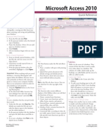 Microsoft Access 2010 Quick Reference Card