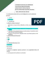 Cuestionario de laboratorio de química orgánica alcanos