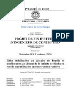 projet de fin d'études sur la lithostabilisation des latérites