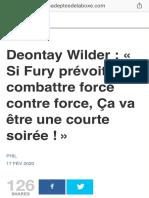 Deontay Wilder  « Si Fury prévoit combattre force contre force, Ça va être une courte soirée ! » - Les Adeptes de la Boxe