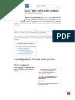 Configuracion electronica del potasio