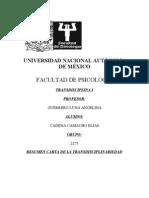 CARTA DE LA TRANSDISCIPLINAREIDAD