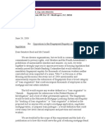 Letter in Opposition to the Fingerprint Registry in Senate Housing Legislation
