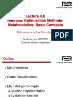 Lecture 4.b - Metaheuristics - Basic Concepts