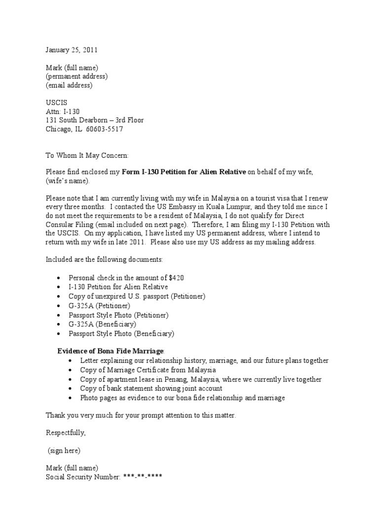 Sample cover letter for i 130 petition cr 1 visa thecheapjerseys Images