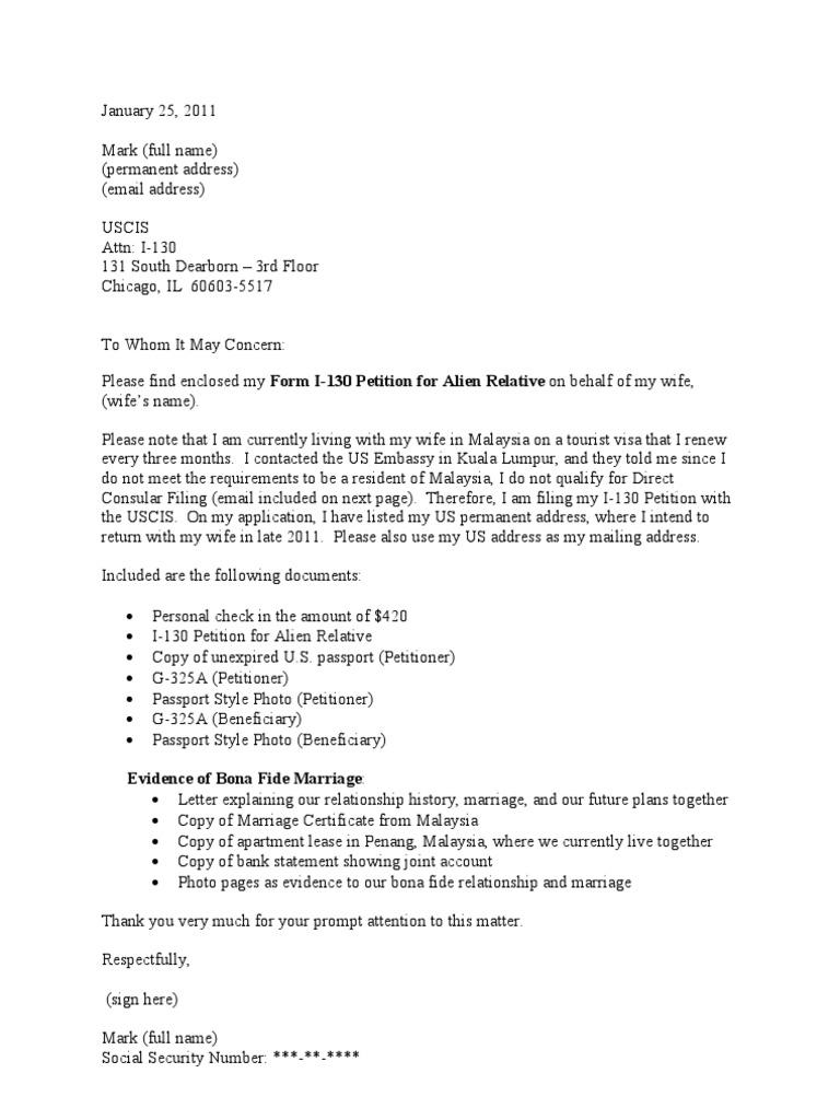 Sample cover letter for i 130 petition cr 1 visa altavistaventures Choice Image