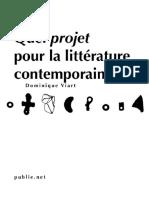 quel projet pour la littérature contemporaine dominique viart