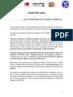 COMUNICADO CERTIFICADO DE LOCUCION