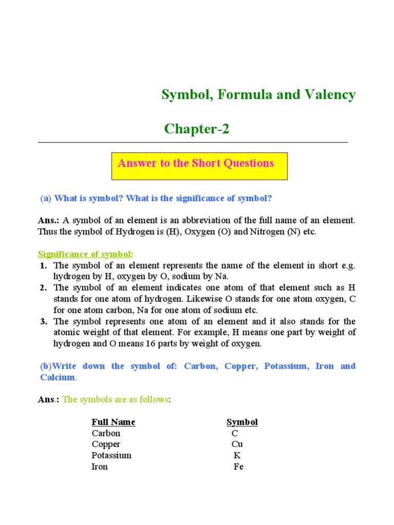 Symble formula valency valence chemistry chemical elements biocorpaavc