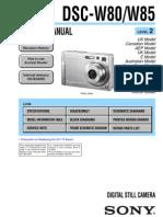 SONY DSC-W80, W85 SERVICE MANUAL LEVEL 2 VER 1.1 2008.05 (9-852-194-32)