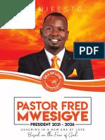 Pastor Fred Mwesigye Manifesto