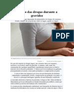 Efeitos das drogas durante a gravidez