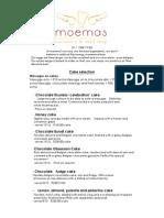 Moemas Cakes and Tarts Pricelist