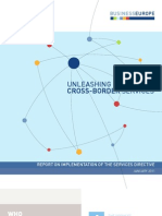 "BUSINESSEUROPE ""Unleashing cross-border services"" - report on implementation of the services directive"