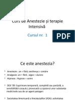 Curs de Anestezie și terapie Intensivă 1