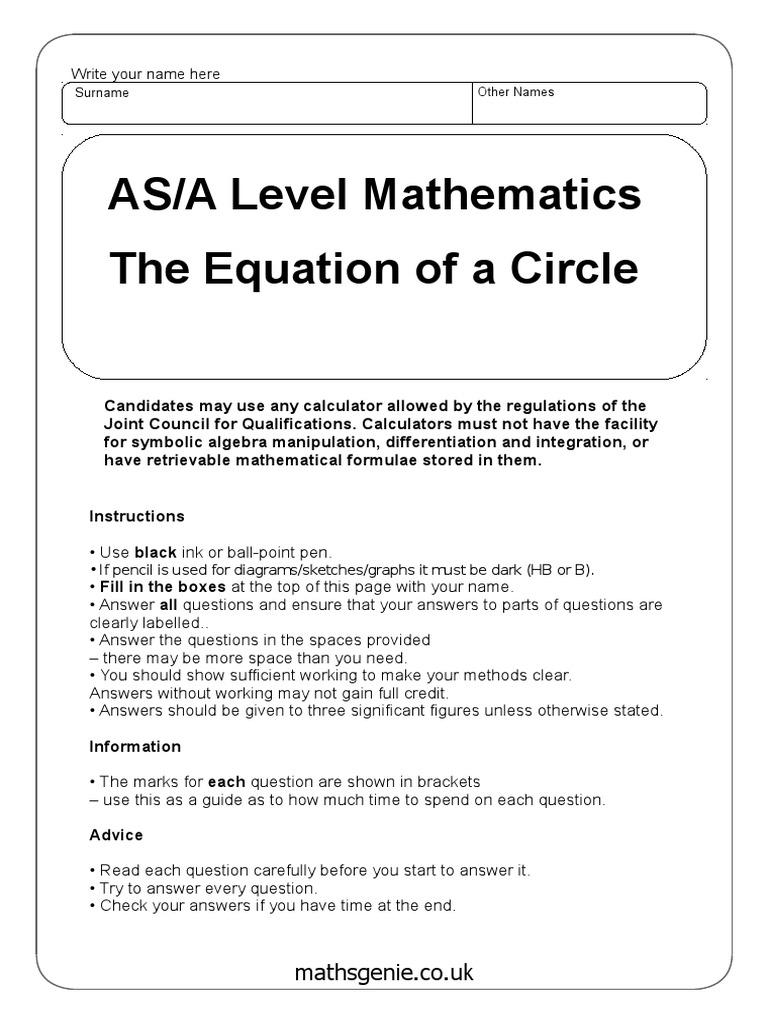 Test 27  Angle  Equations