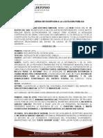 2. ACTA DE EXCEPCION A LA LICITACIÓN