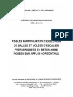 Règle particulaires d'exécution de dalles et volées d'escalier préfabriquées en béton armé posées sur appuis horizontaux  DTR BE21b.