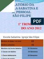 RELATÓRIO DA ESCOLA SABATINA