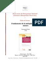 FONDEMENTS DE LA METAPHYSIQUE DES MOEURS - FICHE DE LECTURE HEC PARIS 2009 (20 pages - 197 ko)