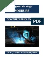 Rapport de stage SOUDURE. DESCARPENTRIES