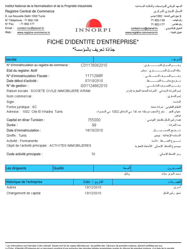 La Fiche D Identite D Entreprise Avant La Transaction Entre Miled