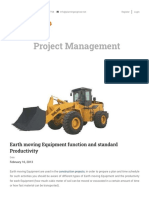 Earth moving Equipment function and standard Productivity