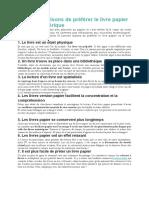 10 bonnes raisons de préférer le livre papier au livre numérique