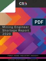 Mining Engineer Shortage Report 2020