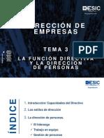 TEMA 3. LA FUNCIÓN DIRECTIVA Y LA DIRECCIÓN DE PERSONAS