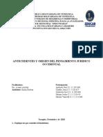 Informe del tema III ANTECEDENTES Y ORIGEN DEL PENSAMIENTO JURÍDICO OCCIDENTAL