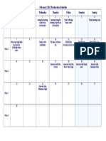 FEBUARY PRODUCTION SCHEDULE