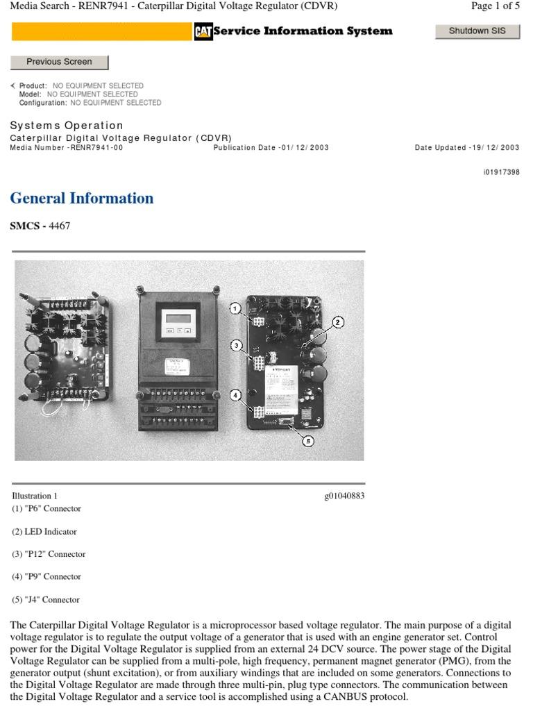 Renr7941  Caterpillar Digital Voltage Regulator  Cdvr