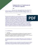 Los Convenios Administrativos de Transferencia de Competenci