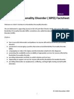 Borderline Personality Disorder ( BPD) Factsheet