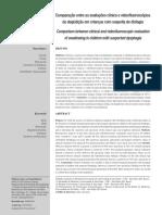 Comparação entre as avaliações clínica e videofluoroscópica da deglutição em crianças com suspeita de disfagia