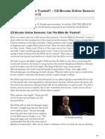 Can the Bible Be Trusted CD Brooks Online Sermon Transcript Daniel 2 (2)