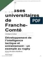 L'intelligence tactique - Développement de l'intelligence tactique et entraînement_ un exemple au rugby - Presses universitaires de Franche-Comté.pdf