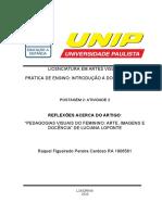 POSTAGEM_2_PEID introdução a docencia postagem 2 UNIP artes visuais