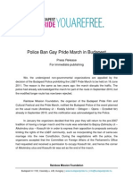 Police Ban Gay Pride March in Budapest
