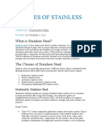 CLASSES OF STAINLESS STEEL