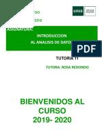 TUTORIA 11 INTRODUCCION AL ANALISIS DE DATOS 2019 2020