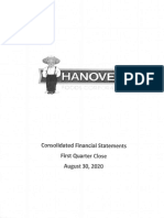 Hanover Foods Aug 30 2020 Financials