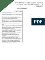 contabilidad de costos. CAPITULO 17 EL USO DE LOS COSTOS PARA LA DETERMINACION DE LOS PRECIOS