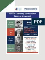 USHLI - Student Leadership Series Launch Speakers Announced!